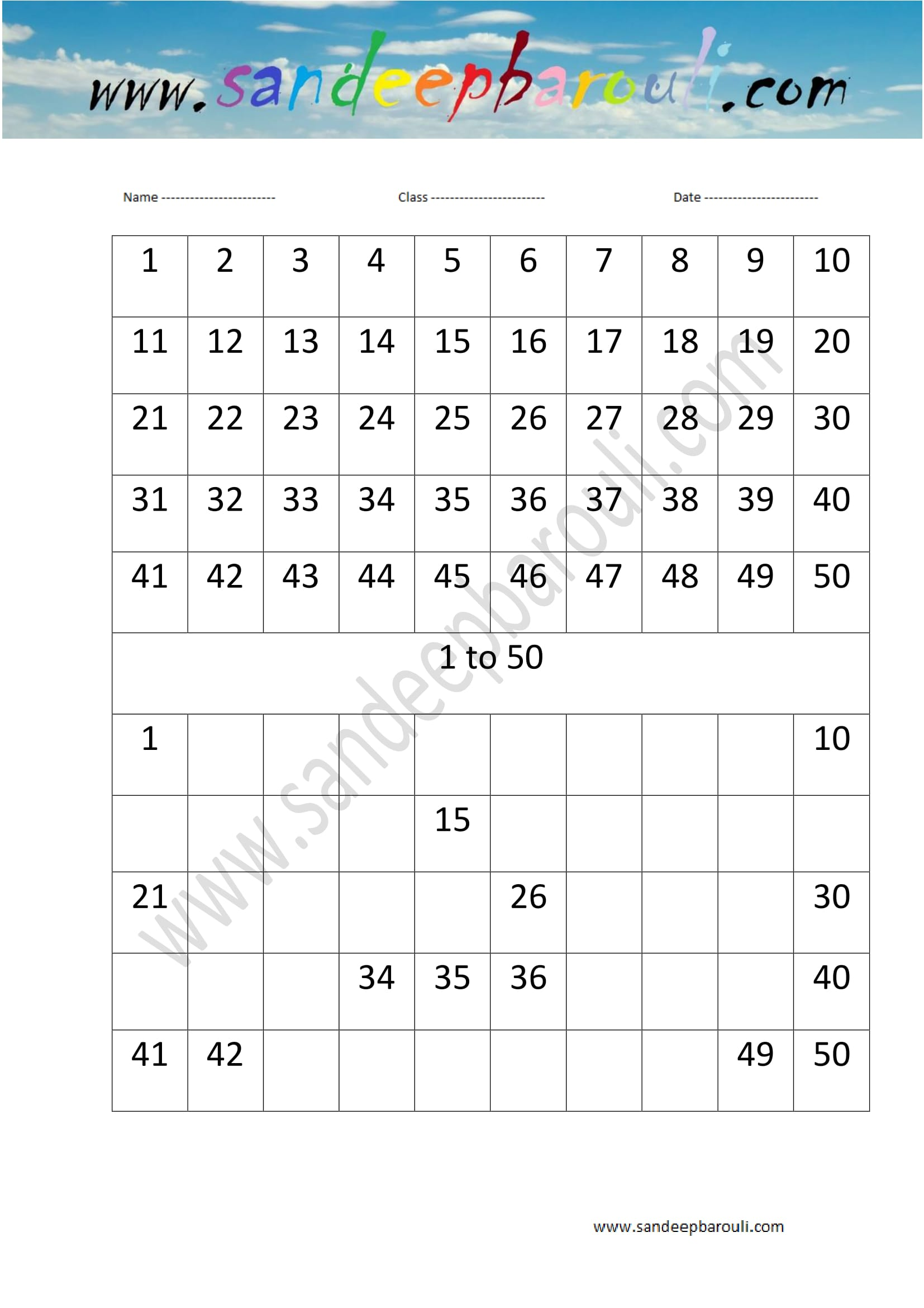 1 To 50 Counting Sandeepbarouli