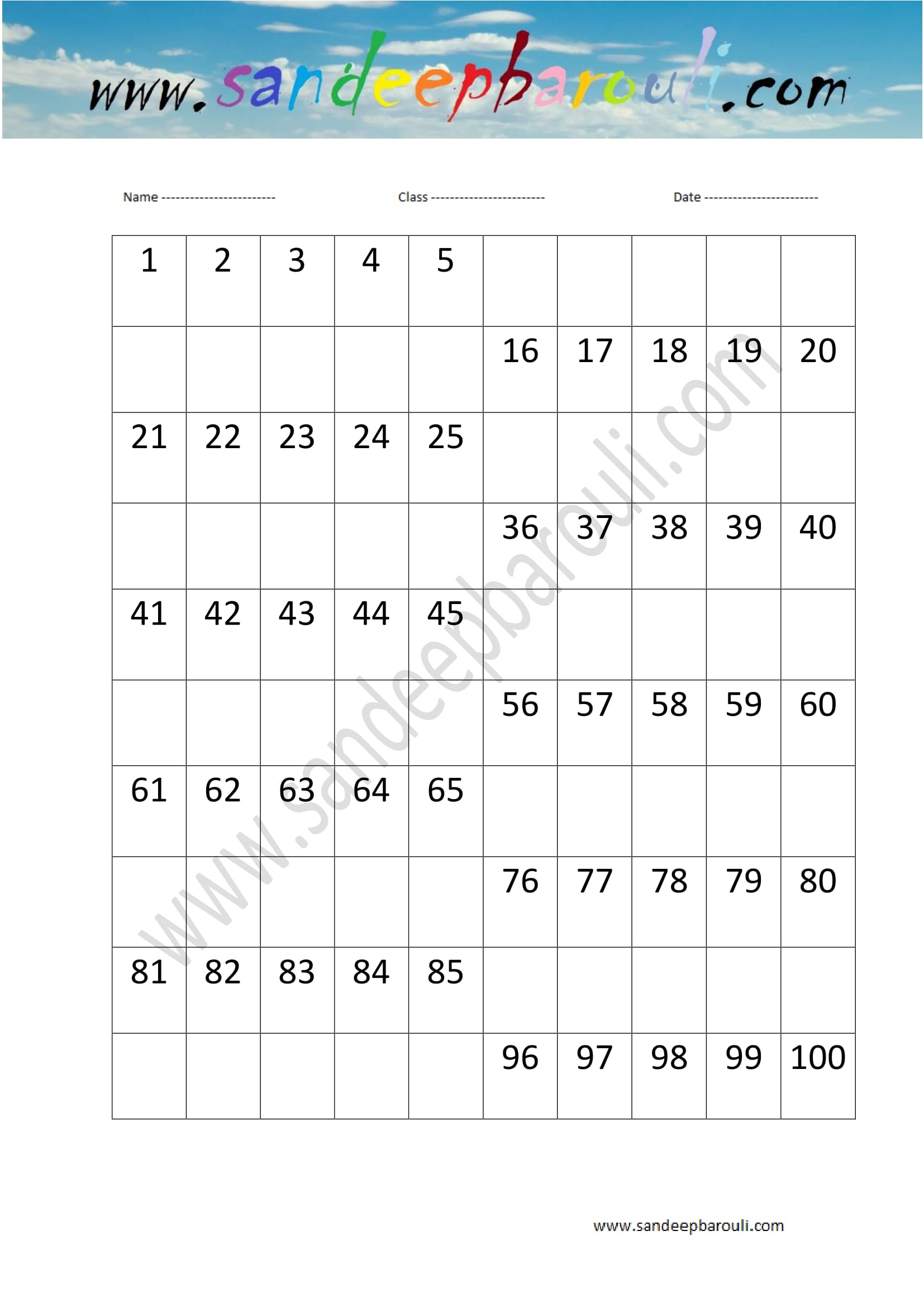 1 to 100 Counting Missing Numbers Worksheet 7 Educational Website – Missing Number Worksheets