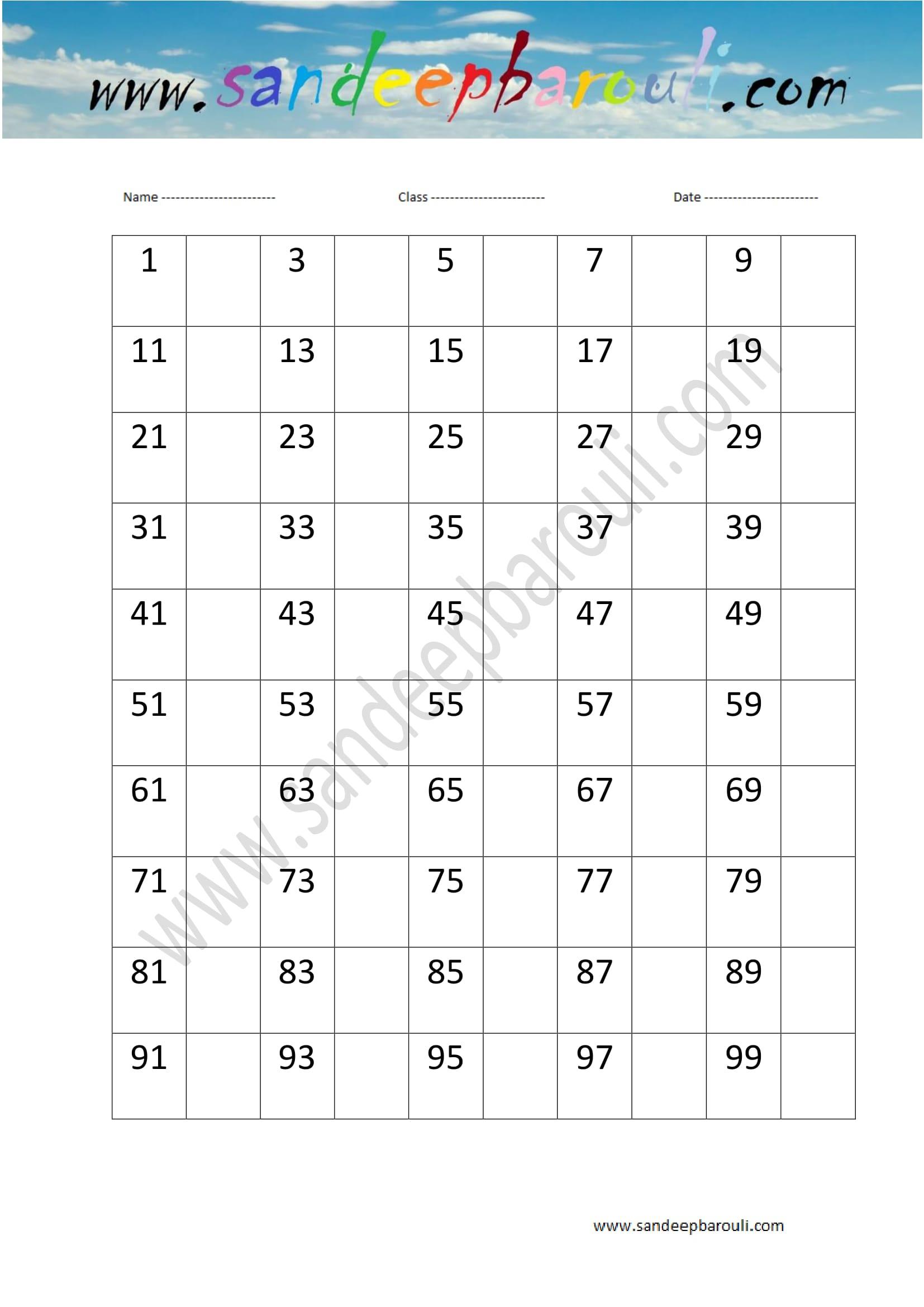 1 to 100 counting u2013 missing numbers worksheet 13 u2013 100 free