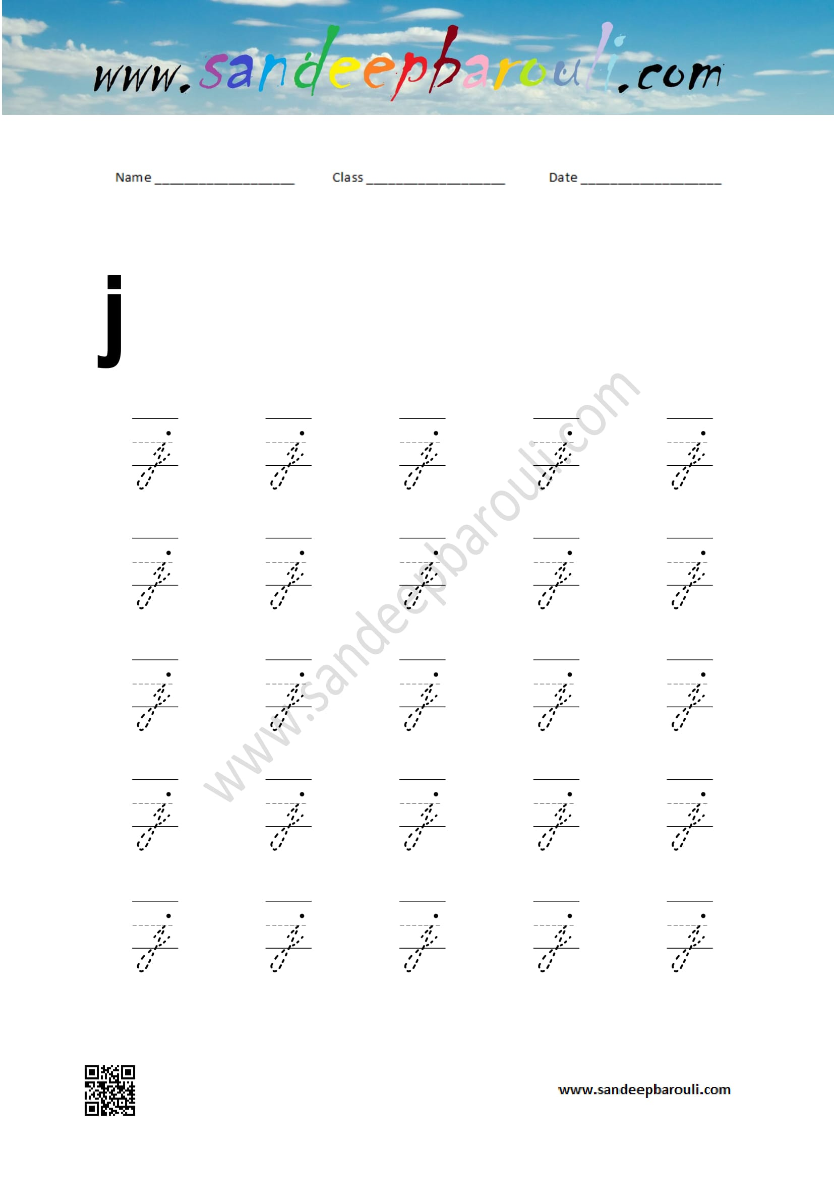 Cursive Writing Worksheet for small letter j – Educational Website
