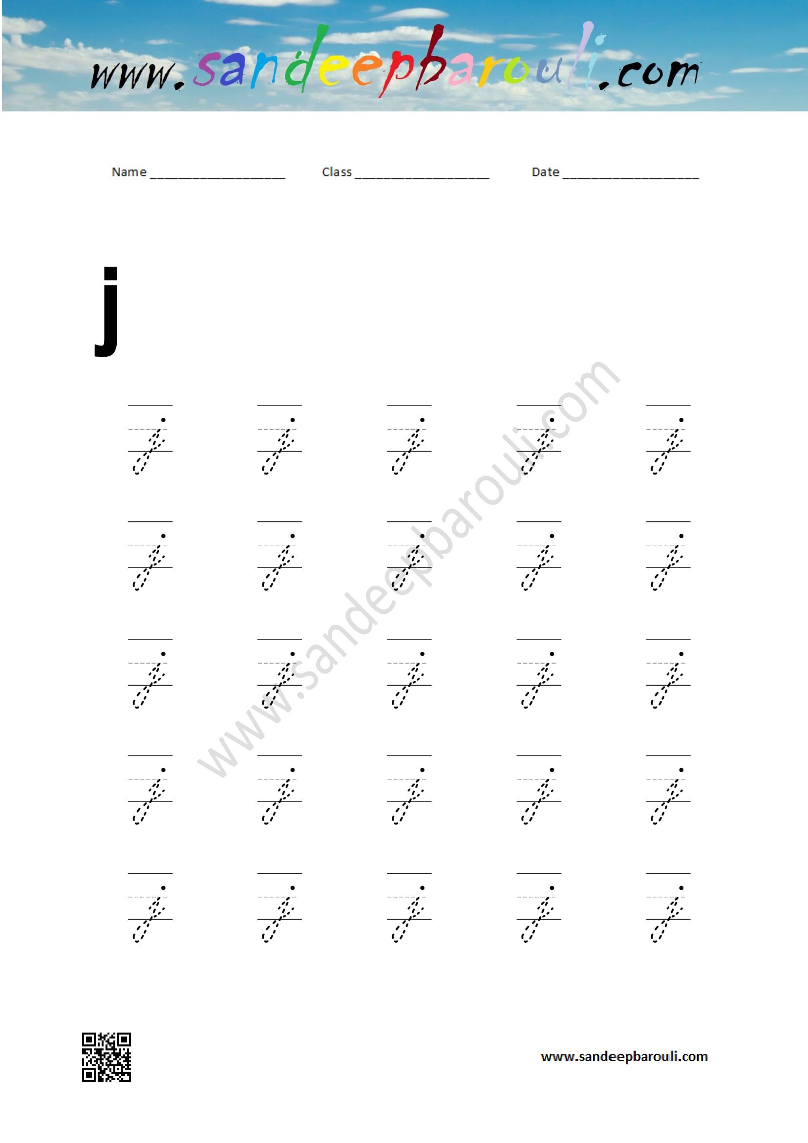 cursive writing worksheet for small letters j sandeepbarouli