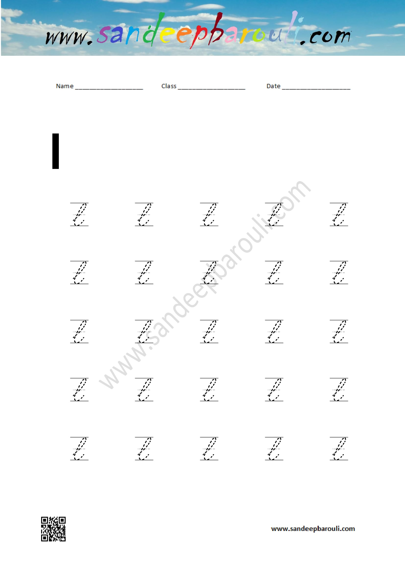 cursive writing worksheet for small letters l sandeepbarouli. Black Bedroom Furniture Sets. Home Design Ideas