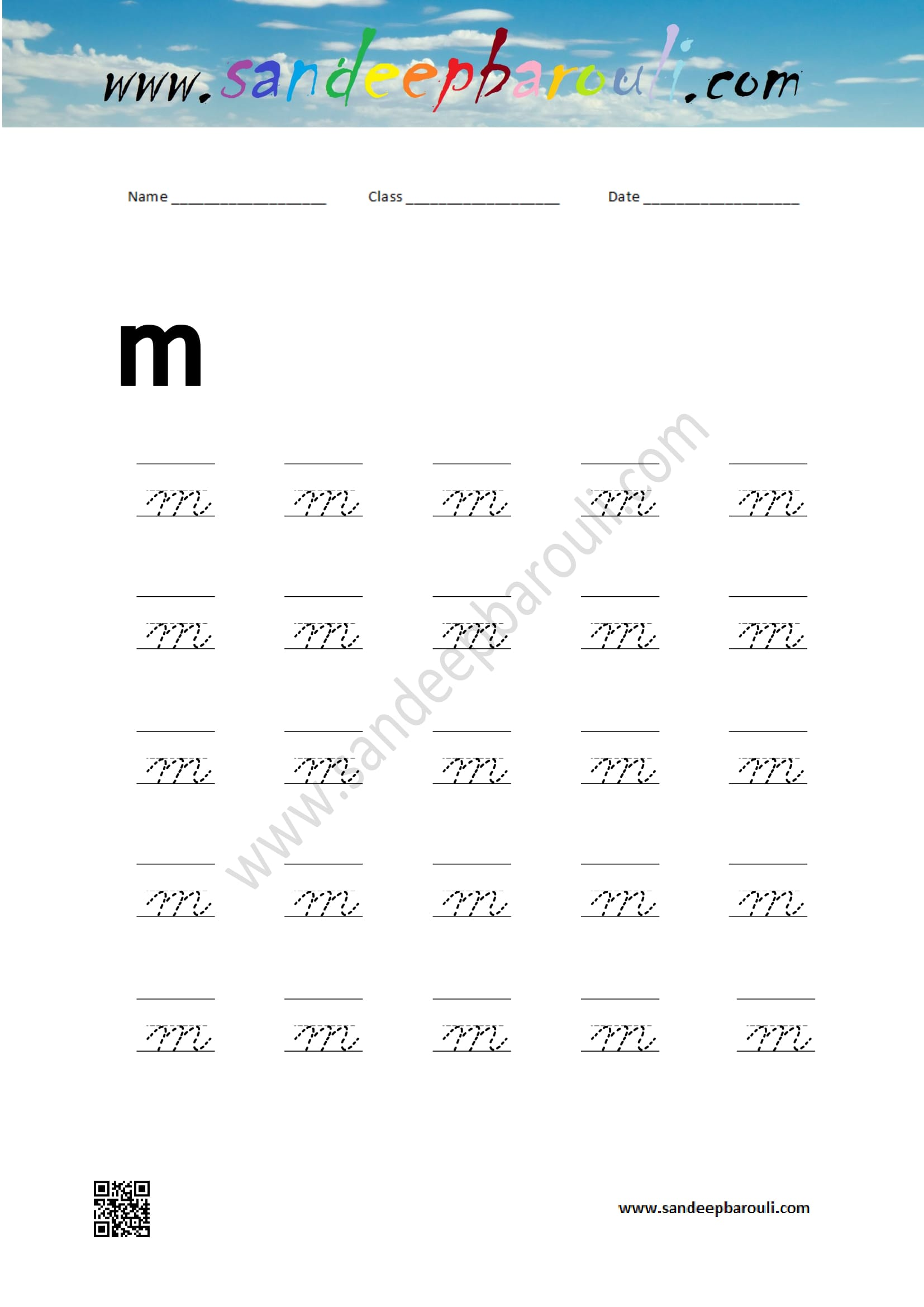 cursive writing worksheet for small letters m
